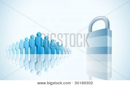 large group of people and padlock. Security concept vector illustration.