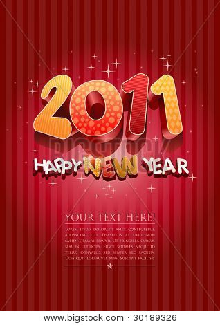 Happy new year 2011! All elements are layered separately in vector file.
