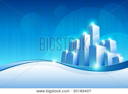 vector abstract future city scene with copy space. Elements are layered separately. EPS10 file.