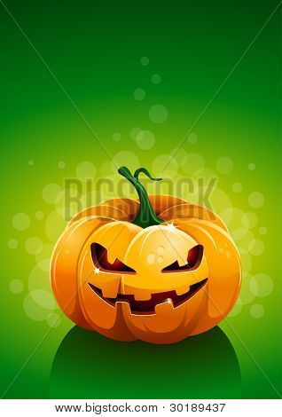 Pumpkin on green background. Vector poster template. All elements are layered separately in vector file.