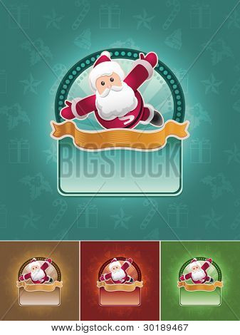 Super Santa Claus. Christmas banner set. All elements are layered separately in vector file. Easy editable CMYK color mode.