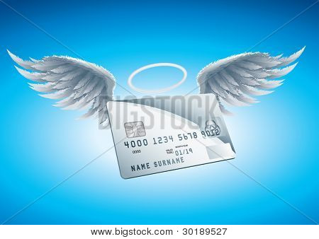 Credit Card Angel vector illustration. CMYK color mode.