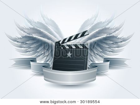 Winged clapboard banner illustration. Elements are layered separately in vector file. Easy editable.