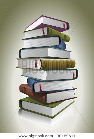 Stack of books. Vector illustration. All books are layered and grouped separately in vector file.