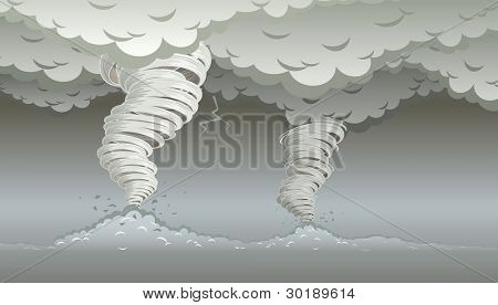 Twin tornado. Vector illustration. Elements are layered separately in vector file.