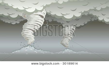 Twin tornado. Vectorillustratie. Elementen zijn afzonderlijk gelaagde in vector bestand.