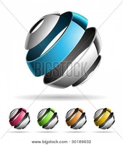 3D abstract Vector Design-Element festgelegt.