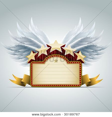 Winged star show banner. All elements are layered separately in vector file. Easy editable.