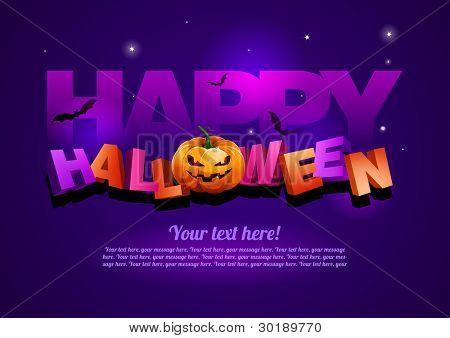 Plantilla de cartel de Halloween feliz.  Todos los elementos son capas por separado en el archivo de vector. EPS10