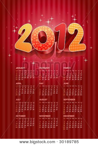 Vector 2012 calendar. All elements are layered separately in vector file. Easy editable.
