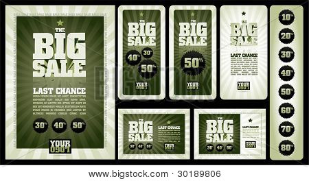 vector design template collection. The BigSale . Well organized layers. Cmyk color mode. Just 2 global colors. Easy editable. Ready for print or your web designs.Font: City Bold (converted)
