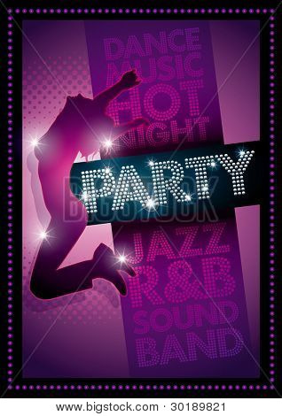 Purple Party poster Template. Well organized layers in vector file. CMYK colors. Print ready.