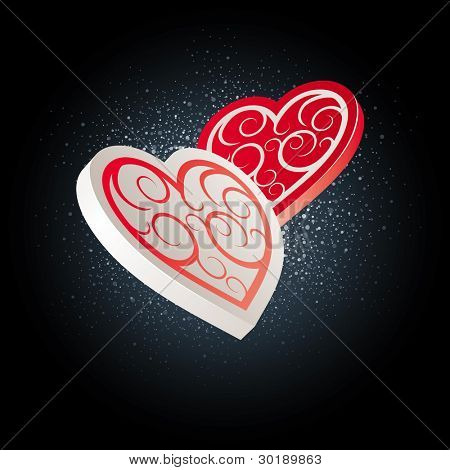 Valentine's Day Hearts. Editable vector illustration. CMYK color mode. Print ready. All elements are layered separately in vector file.
