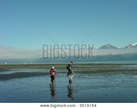 Father & Sons On Beach