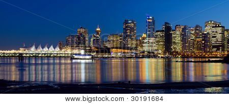 Vancouver Bc City Skyline Reflection