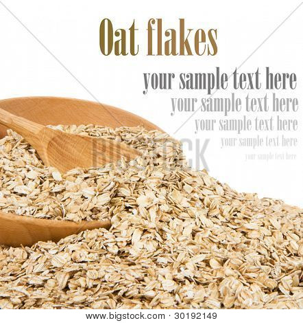 oat flake cereals and bowl isolated on white background