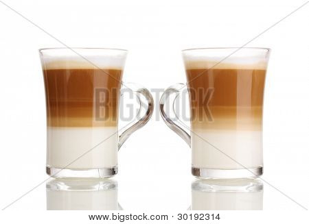 Fragrant ?offee latte in glass cups isolated on white