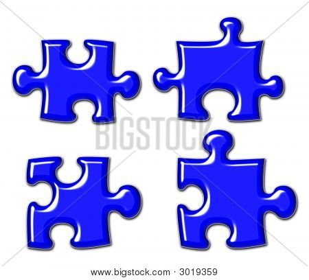 Blue Shiny Puzzle Pieces