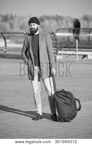 poster of Traveler With Suitcase Arrive Travel Destination. Hipster Ready Enjoy Travel. Looking For Accommodat