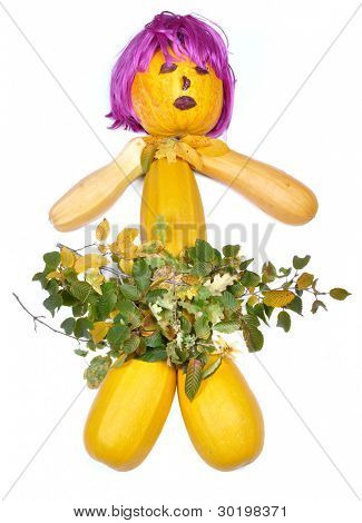 Doll made of pumpkins periwig and leaves