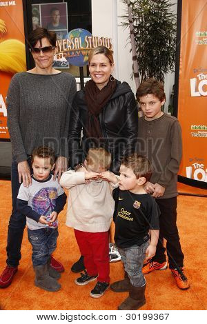 LOS ANGELES, CA - FEB 19: Cat Cora; wife Jennifer Cora; sons at the 'Dr. Suess' The Lorax' premiere at Universal Studios Hollywood on February 19, 2012 in Los Angeles, California
