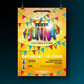 Festa Junina Party Flyer Design With Flags, Paper Lantern And Typography Design On Yellow Background poster