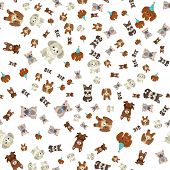 Doggy With Cute Muzzle Vector, Seamless Pattern Of Dogs Wearing Celebration Hat For Holiday Special  poster