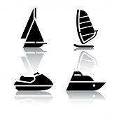 stock photo of sailfish  - Set of transport icons  - JPG