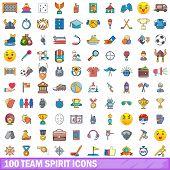 100 Team Spirit Icons Set. Cartoon Illustration Of 100 Team Spirit Icons Isolated On White Backgroun poster