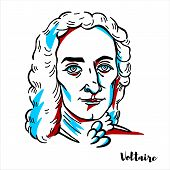 Voltaire Engraved Vector Portrait With Ink Contours. French Enlightenment Writer, Historian And Phil poster