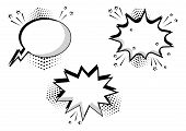 Set Black And White Comic Bubbles For Your Text. Comic Sound Effects In Pop Art Style. Sound Bubble  poster