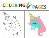 Coloring Book Page For Kids. Birthday Unicorn. Sketch Outline And Color Version. Childrens Education poster
