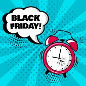 Alarm Clock With White Comic Bubble With Black Friday Word On Blue Background. Comic Sound Effects I poster