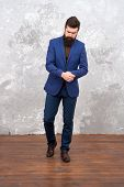 Fashion Style. Elegant Man With Beard. Male Fashion Model. Mature Businessman Walking. Tailor Or Fas poster