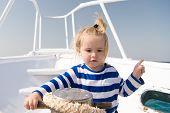 Entertainment Jobs. Baby Boy Enjoy Vacation Sea Cruise Ship. Child Sailor. Boy Sailor Travelling Sea poster
