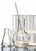 Laboratory Glassware On White Background. Laboratory Equipment poster