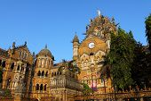 stock photo of british bombay  - Victoria Terminus Train Station in Mumbai  - JPG