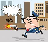 stock photo of sherif  - Police Officer Running With A Gun And Shooting Through A City - JPG
