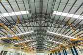 Steel Roof Truss In Car Repair Center, Steel Roof Frame Under Construction, The Interior Of A Big In poster