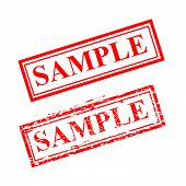 Sample , Red Scratch Rubber Stamp Isolated On White poster