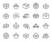 Box Line Icons. Package, Delivery Boxes, Cargo Box. Cargo Distribution, Export Boxes, Return Parcel  poster