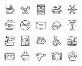 Hotel Service Line Icons. Wi-fi, Air Conditioning And Coffee Maker Machine. Spa Stones, Swimming Poo poster