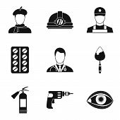 Working Profession Icons Set. Simple Set Of 9 Working Profession Icons For Web Isolated On White Bac poster