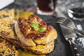 Fried Foie Gras With Mango Puree On Dark Background. Goose Liver. poster