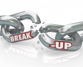 stock photo of breakup  - Two metal chain links broken with the words Break - JPG
