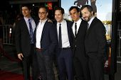 LOS ANGELES, CA - FEB 16: Ken Marino, David Wain, Paul Rudd, Justin Theroux,  Judd Apatow at the pre