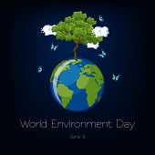 World Environment Day Poster With On Dark Blue Background. poster