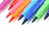 image of sharpie  - Multicolored felt tip pens on a white background with copy space
