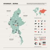 Vector Map Of Myanmar. Country Map With Division, Cities And Capital Naypyidaw. Political Map,  Worl poster