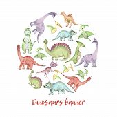 Circle Banner From Cartoon Watercolor Dinosaurs. Cute Hand Drawn Funny Illustration Of Dinosaurs Rou poster